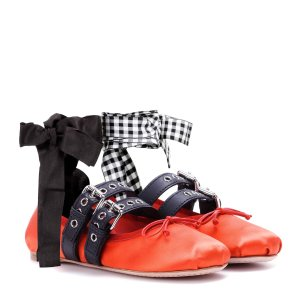 Miu Miu - Buckle-embellished satin ballerinas