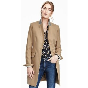Melton Wool Buttoned Top Coat