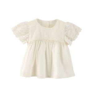 Baby Girl Lace Flutter-Sleeve Top | OshKosh.com