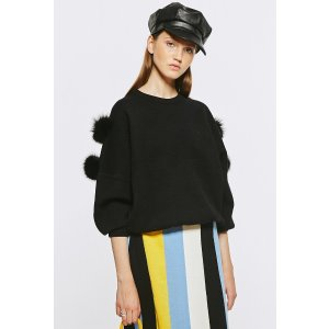 Black Sweater With Faux Fur TP1586