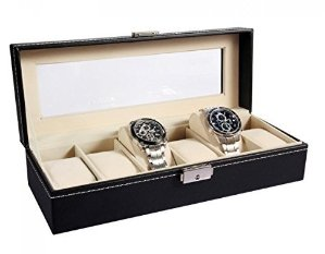 Ohuhu 6-slot Leather Watch Box with Metal Lock
