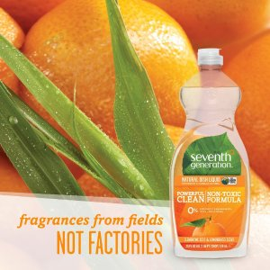 Seventh Generation Natural Dish Liquid, Clementine Zest & Lemongrass Scent, 25-Ounce Bottles (Pack of 6)