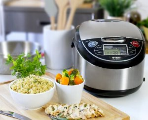 Lowest price! $119.99 Tiger JAX-T10U-K 5.5-Cup (Uncooked) Micom Rice Cooker with Food Steamer & Slow Cooker, Stainless Steel Black