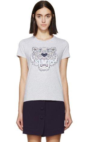 $120 Kenzo SSENSE Exclusive Grey Tiger Logo T-Shirt