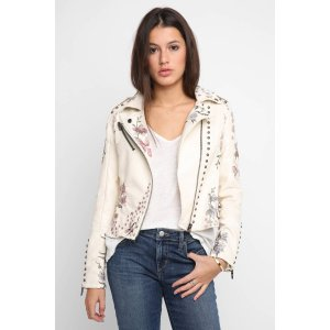 Blank Ivory Vegan Floral Embroidered Moto Jacket   South Moon Under