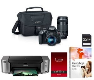 $395Canon EOS Rebel T6 18MP DSLR Camera with 18-55mm + 75-300mm Lenses + Pro 100 Printer