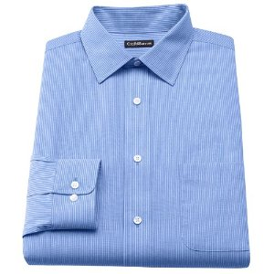 As Low As $6.72 Men's Croft & Barrow Classic-Fit Striped Broadcloth Spread-Collar Dress Shirt