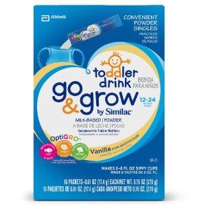 Go & Grow by Similac Powder Singles, Milk Based Toddler Drink, Vanilla, 4 packs of 16 powder sticks