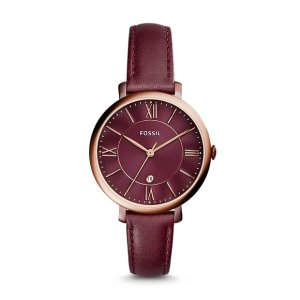 Jacqueline Three-Hand Date Wine Leather Watch - Fossil