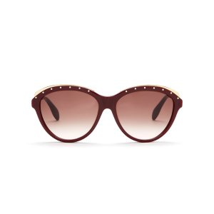 ALEXANDER MCQUEEN Burgundy AMQ 4241 Cat Eye Sunglasses