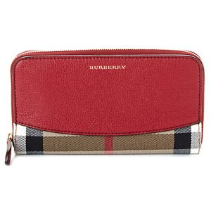 Burberry House Check & Leather Zip Around Wallet