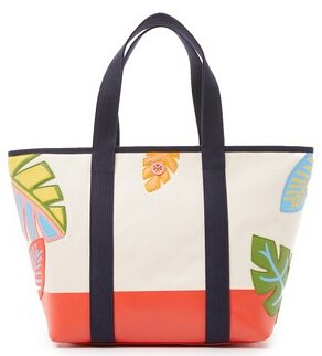 Tory Burch Leaf Applique Canvas Zip Tote