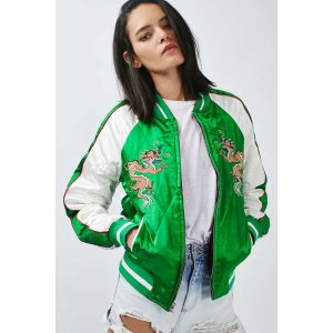 Two-In-One Reversible Sateen Bomber Jacket - Topshop USA