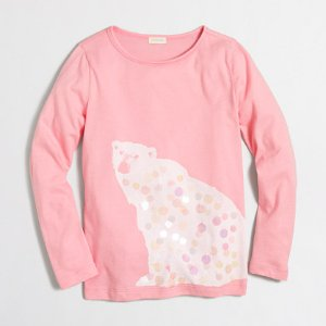 Girls' Long-Sleeve Polar Bear Keepsake T-Shirt | J.Crew Factory