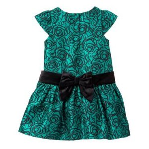 Toddler Girls Emerald Print Duppioni Dress by Gymboree