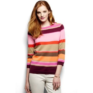 Women's Supima 3/4 Sleeve Stripe Sweater