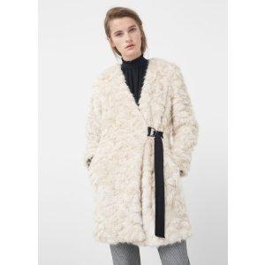 Belt faux fur coat - Woman