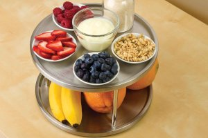 Lazy Susan Spice Rack Organizer Tabletop Turntable 2 Tier Stainless Steel Metal Turning Table