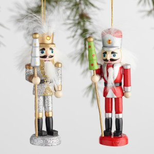 Multicolor Wood Nutcracker Boxed Ornaments Set of 2 | World Market