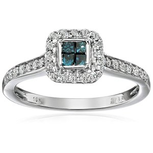 10kt White Gold Round and Blue Princess Cut Diamond Anniversary Ring (1/2 cttw), size 7: Clothing