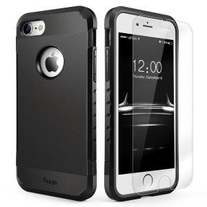 iPhone 7/7 plus Matte Black Case+ Glass Screen Protector