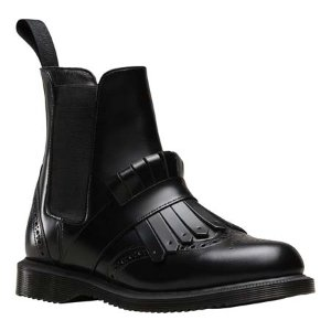 Womens Dr. Martens Tina Kiltie Brogue Chelsea Boot - Black Polished Smooth - FREE Shipping & Exchanges