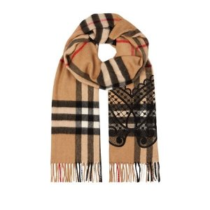 Burberry Runway Embroidered Check Scarf