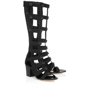 Black Mix Suede and Elastic Sandal Boots with Jewel Embellishments