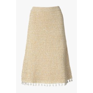 A-Line Skirt With Tassels - Natural