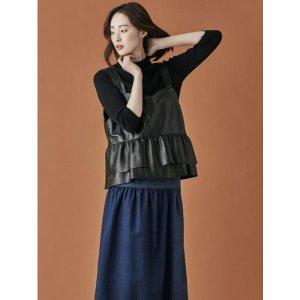 MANUELLE ET GUILLAUME Leather Shirring Vest (Black)