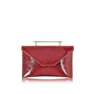 M2Malletier Annabelle Lipstick Red Patent Leather Clutch w/Chain at FORZIERI
