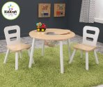 $44 KidKraft Round Table and 2 Chair Set, White/Natural