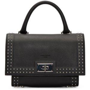 Givenchy: Black Studded Mini Shark Bag | SSENSE