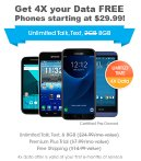 as low as $29.99 Get 4x your data FREE w/ FreedomPop LTE Smartphones Refurbished