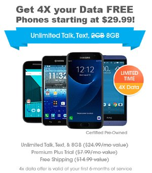 as low as $29.99Get 4x your data FREE w/ FreedomPop LTE Smartphones Refurbished