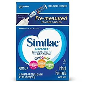 $11.59 Similac Advance Infant Formula with Iron, Stage 1 On the Go Powder Sticks, 16 Count , 9.76 oz (Pack of 4)