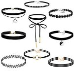 FIBO STEEL 6-9PCS Womens Black Velvet Choker Necklace for Women Girls Lace Choker Tattoo Necklace