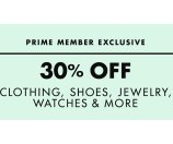 30% Off Select Clothing, Shoes, Jewelry, Watches & More @ Amazon.com