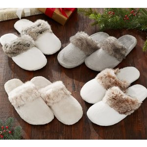 Faux Fur Slippers | Pottery Barn