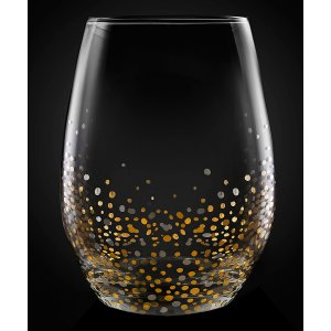 Black & Gold Confetti Stemless Wine Glass - Set of Four | zulily
