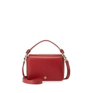 Tory Burch Saffiano Leather Micro Satchel Bag, Red Stone