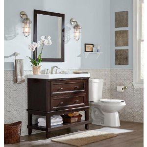 Home Decorators Collection Teasian 36 in. Vanity in Chocolate with Cultured Marble Vanity Top in White with White Basin and Mirror-TE36P3-CH - The Home Depot