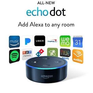 $39.99无税2017CES最火语音服务!Amazon Echo Dot 2代 黑白双色可选