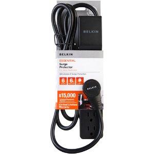 Belkin 6-Outlet Surge Protector, Black