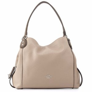 Coach Edie 31 Snakeskin-Trim Shoulder Bag, Beige
