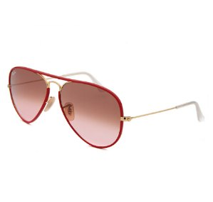 Lowest price! only$69.99( reg.$182)+free shipping Ray-Ban Women's Aviator Full Color Red and Gold-Tone Sunglasses