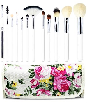 $7.64 Lightning deal! EmaxDesign 12 Piece Professional Makeup Brush Set Goat Hair Wood Handle Foundation Blending Blush Eye Face Liquid Powder Cream Cosmetics Brushes Kits