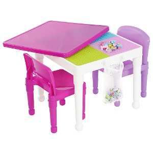 Tot Tutors 2-in-1 Plastic Building Block Compatible Activity Table and 2 Chairs Set