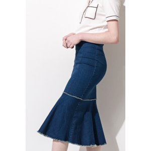 FRS Elastic Fit & Flare Midi Demin Skirt