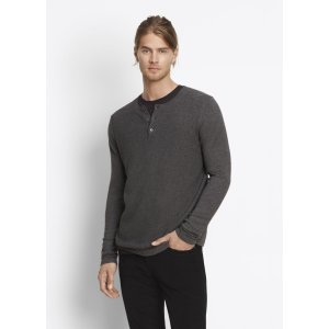 Jersey Mix-Stitch Long Sleeve Henley for Men | Vince